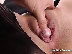 Sultry young brunette sucks a...