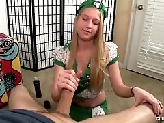 Blonde girl gives a handjob