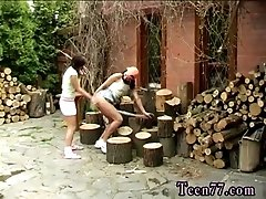 xhamster Cutting wood and licking pussy
