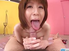Small tits Rei Sasaki rides cock...