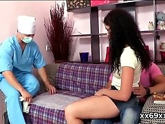 Physician assists with hymen...