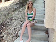 xhamster Cute blonde teen posing before anal