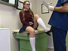 Flirty teen skipping test with...