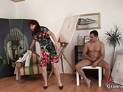 Hot grandma enjoys riding his...
